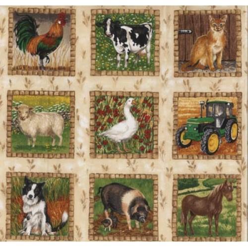 Farmyard & Tractor Fabric Panel